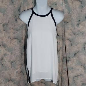 NWT By Together white with navy trim halter top M